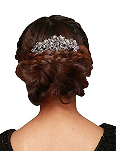 Women Fashion Wedding Bridal Hair Comb Pearl and Crystal,White