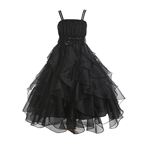 ekidsbridal Wedding Stunning Organza Spaghetti-Straps Pleated Ruffled Flower Girl Dress Easter Toddler Bridal Pageant 009 ()