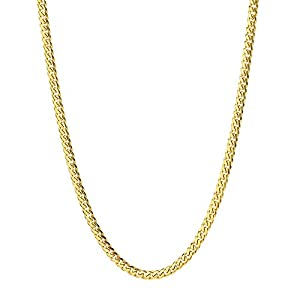 Q&S Jewels 3.5MM Cuban Links Chain Necklace 18K Gold Plated, Stainless Steel Chain for Men Women,Fashion Jewelry, Wear Alone or with Pendant (18-30 Inch)