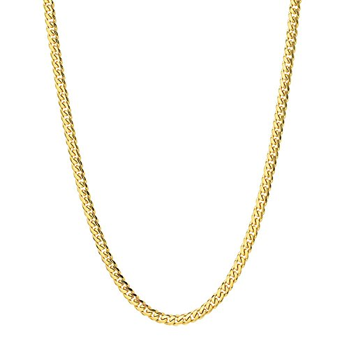 - Q&S Jewels 3.5MM Cuban Links Chains Necklace 18K Gold Plated Stainless Steel Chain for Men Women,Fashion Jewelry Wear Alone or with Pendant, 20Inches