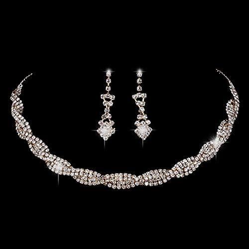 RHYJKOJ Conjunto de Joyas Conjunto De Joyas Pendientes De Collar De Gargantilla De Cristal De Diamantes De Imitación Brillantes Conjunto De Joyas con Dijes