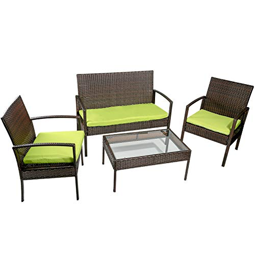 Merax 4 PC Outdoor Rattan Furniture Set Patio Wicker Cushioned Set Garden Sofa Set For Sale