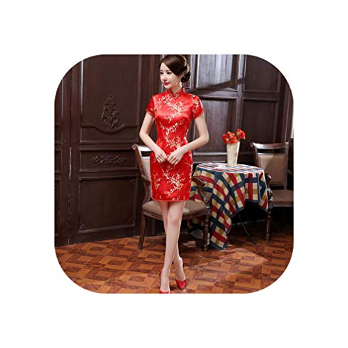(Red Chinese Women Traditional Dress Silk Satin Cheongsam Mini Sexy Qipao Flower Wedding Dress Oversize 4XL 5XL)