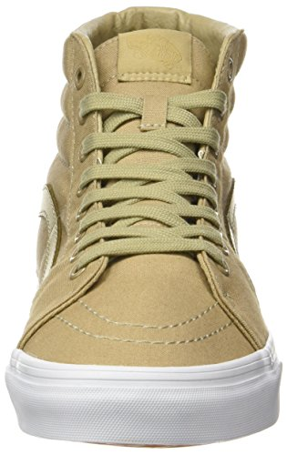 Vans Sk8-Hi Unisex Casual High-Top Skate Shoes, Comfortable and Durable In Signature Waffle Rubber Sole (Mono Canvas) Khaki/True White
