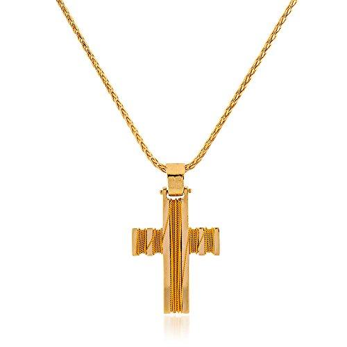Gioiello Italiano Collier en or jaune 14 carats avec pendentif en forme de croix