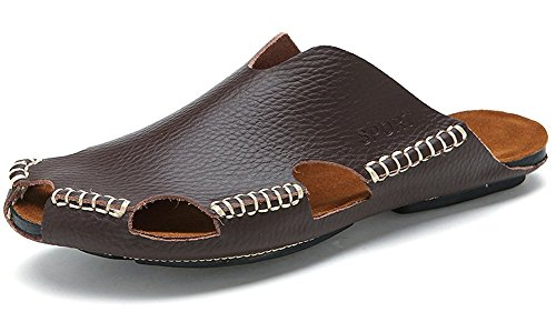 toe Close Men Scuro Pu Leather Sandali Traspirante Odema Marrone wXg1PxqXA