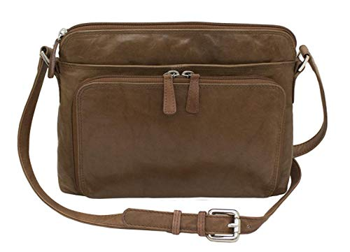 (CTM Women's Leather Shoulder Bag Purse with Side Organizer, Toffee)