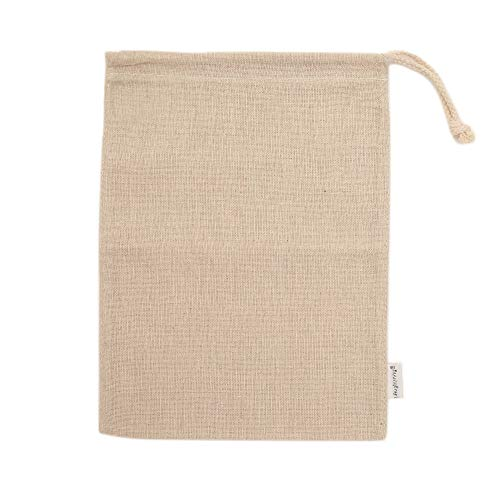Augbunny Cotton/Linen Blend 9- by 12-inch Muslin Produce Bags with Drawstring, 6-Pack