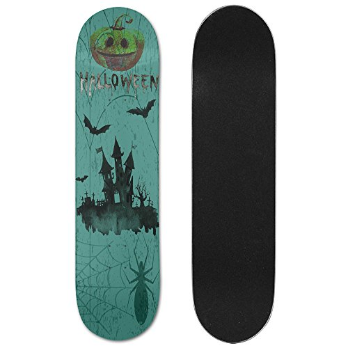 Halloween Haunted Houses Cool Beautiful Fitness Skateboard Longboards Deck Print School Skateboard Long Plate Double Play Scooter (Haunted House Ideas And Props)