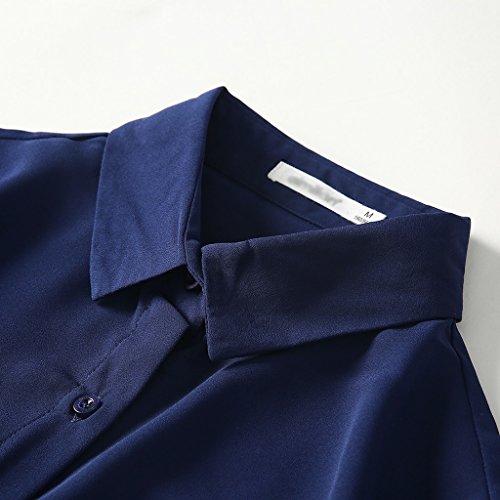 Lunghe Unita Autunno Casual Maniche Da A Blu S Dimensioni Tinta Donna Camicia Colore XO01xq