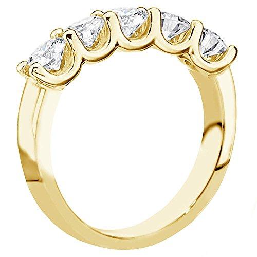 (VIP Jewelry Art 1.25 CT TW U-Prong Set Round Diamond Anniversary Wedding Ring in 18k Yellow Gold - Size 12)