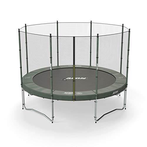 Acon Air 3.7 Trampoline 12′ with Enclosure | Includes 12ft Round Trampoline and Safety Net | 80 Heavy Duty 8.5″ Springs For Sale