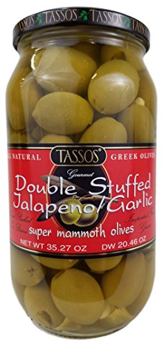 Garlic Olives Stuffed - Tassos Double Stuffed Jalapeno-garlic Super Mammoth Greek Olives, 35.27 Oz