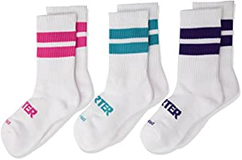 Starter Girls' 3-Pack Mid-Calf Striped Crew Socks, Amazon Exclusive, White, Small (Shoe Size 9-3.5)