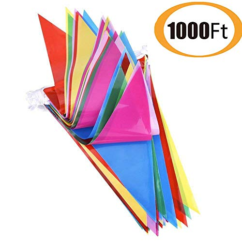 600pcs Multicolor Pennant Banner Bunting Flags 1000 Ft for Festival Party Celebration Events and Backyard Picnics Nylon Fabric Decorations Flags (600pcs) -