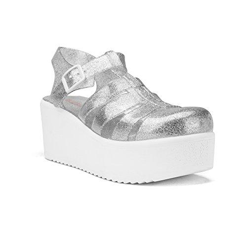 Chemistry® Ariel Jelly Platform Open Toe Slip On Sandali Con Tacco Regolabile Cinghia Superiore Scarpe Basse Argento