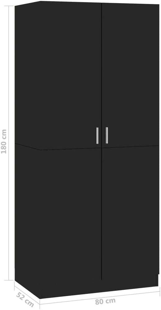 Tidyard Armadio Camera da Letto Moderno in Truciolato Nero//Grigio//Lucido,Armadio Vestiti,Armadio Camera da Letto,Armadio,Armadio con 2 Ante 80x52x180 cm