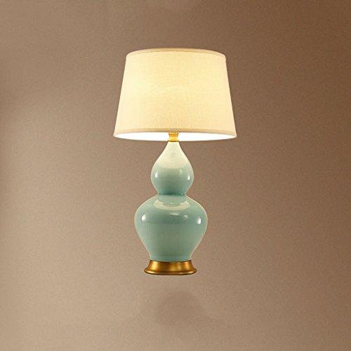 - CJH Copper gourd American rural ceramic lamp living room bedroom bedside lamp simple atmospheric American celadon bedroom lamp