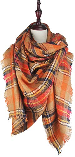 VIVIAN & VINCENT Women's Plaid Blanket Winter Scarf Warm Wrap Oversized Shawl Cape Orange