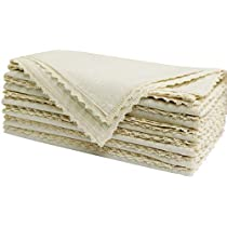 12 Pack Flax Cotton with Lace Napkins- 20x20 Natural