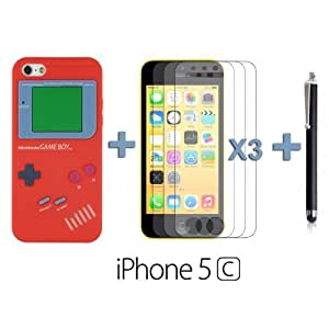 OnlineBestDigital - Gameboy Style Silicone Case for Apple iPhone 5C - Red with 3 Screen Protectors and Stylus