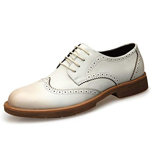Feidaeu Herren Brogue Schuhe Atmungsaktive Perforierte Anzugs Schuhe Runde Kopf Gemütlich Gummi-Außensohle Schnürhalbschuhe Weiß