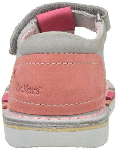 Kickers Woopy - Patucos de cuero Bebé - niña Gris (Gris Fuschia)