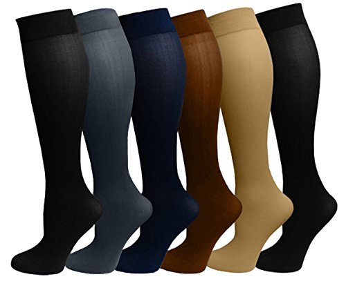 6 Pairs Women's Opaque Spandex Trouser Knee High Socks Queen Size 10-13 - Trouser Womans Sock
