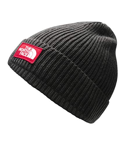 - The North Face TNF Logo Box Cuffed Beanie, Asphalt Grey/TNF Red, Size OS Short