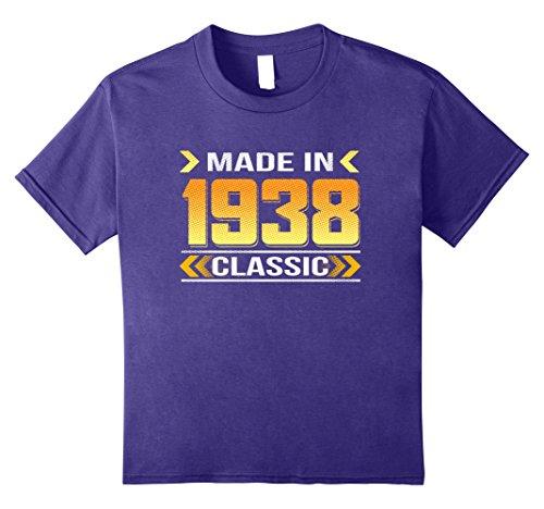 Kids Vintage 1938 birthday pop art shirt 12 Purple - 1938 Art