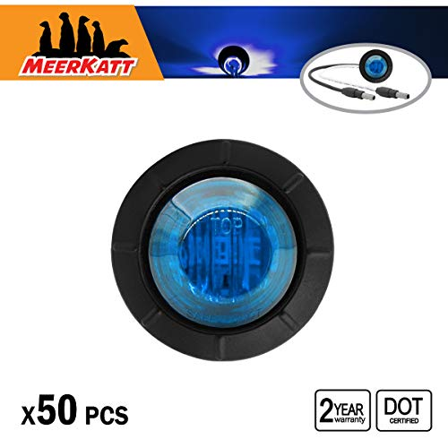 Meerkatt (Pack of 50) 3/4 Inch Mini Round Blue Small Side Indicators LED Marker Light Bullet Clearance Lamp Grommets w/Connector Ends Waterproof Tractor RV Truck Trailer Pickup Van Bus 12v DC 3LED-DC