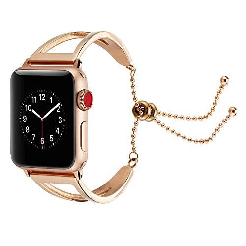 (Stylish Feminine/Women Band Vintage Classy Stainless Steel Beaded Hollow Chain Wristband Smart Watch iwatch Feminine Pendant and Tassel Universal Bracelet for Women and Girls (Pink, 42mm))