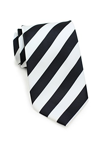 Bows-N-Ties Men's Necktie Business Striped Microfiber Satin Tie 3.25 Inches (Black and White)