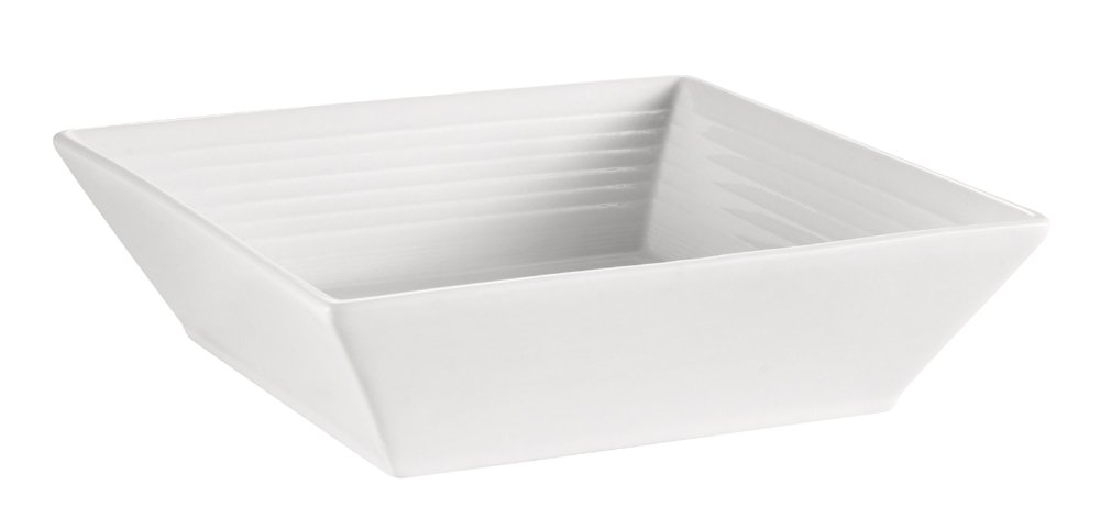 CAC China TGO-B8 Tango 42-Ounce Bone White Porcelain Square Bowl, 8-Inch, Box of 24