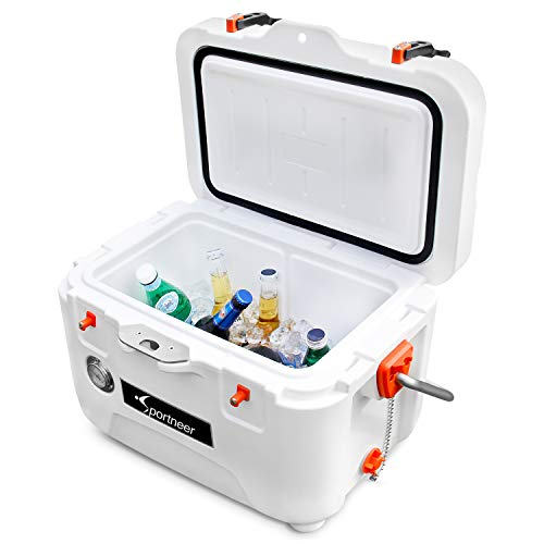 Sportneer 25 Quart Cooler with Build-in Thermometer, Portable Ice Chest Hard Cooler for Camping, Fishing, Boating, Beach Trips, Cookout or Excursion