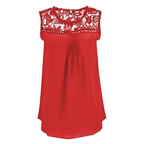 E Chiffon T Affascinante Pizzo Tops Elegante Colletto Shirt Camicetta Maniche Tondo Rosso Bluse Senza In Iwpaq