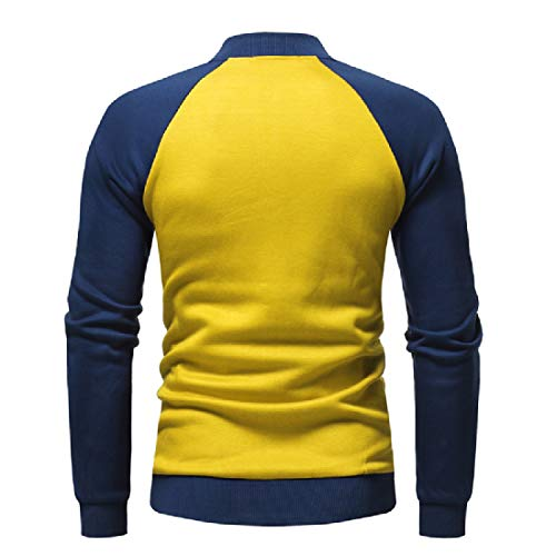 Coats Howme Loose Raglan Jacket Sweatshirt Men Fleece Casual Contrast Yellow qrqwa8Z