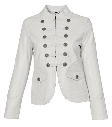 Estilo Blanco Mujer Of Militar Cuero Leather Ajuste Janet Casual Chaqueta Genuino Delgado House EYqx74w1aa