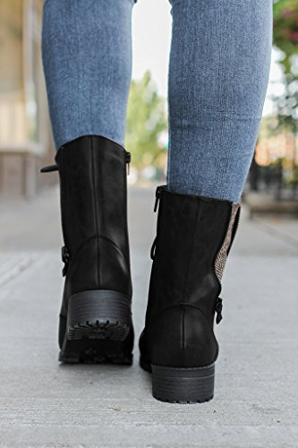 ... Fisace Mujeres Winter Round Toe Militar Lace Up Knit Tobillo Cuff Low  Heel Combat Botas Marten ...