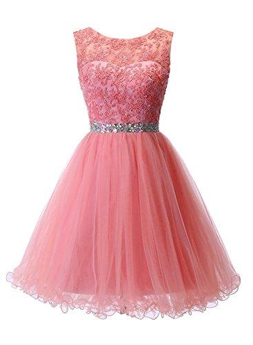 Carnivalprom Elegant Brautkleid Abendkleider Hochzeit Damen Ballkleider Spitze Für Kurz Spaghetti Koralle Träger RqrHxpR