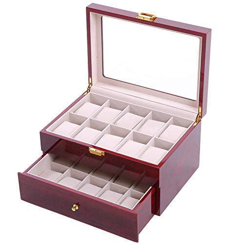 Amazon.com: 2019 Luxury 20 Grids Handmade Wooden Watch Box Wood Caja Reloj Clock Box Watch Case Time Box saat kutusu Horloge Box for Watch Holding: Arts, ...