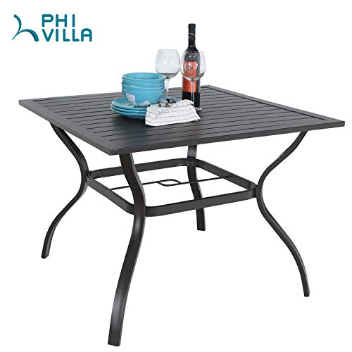 PHI VILLA 37″ x 37″ Patio Outdoor Dining Table with Umbrella Hole, Square Bistro Metal Steel Slat Table for Garden Backyard Poolside Deck