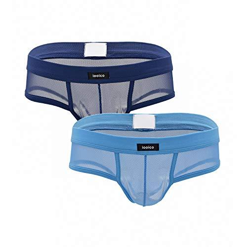(iooico Men's Underwear, Soft Mesh Thongs G-Strings See-Through Briefs Blue+Navy Blue Small (10L))