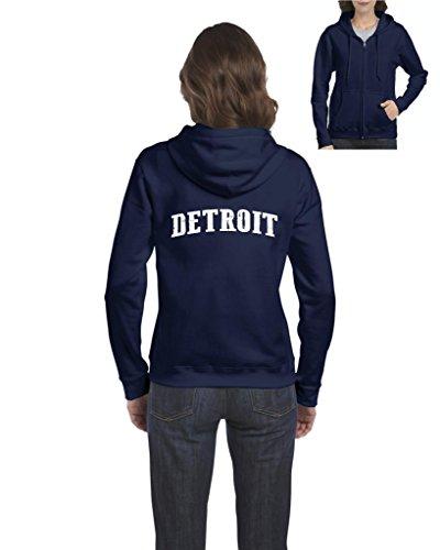 Mom`s Favorite City of Detroit Michigan State Flag Traveler`s Gift Women's Full-Zip Hooded (LNB) Navy Blue