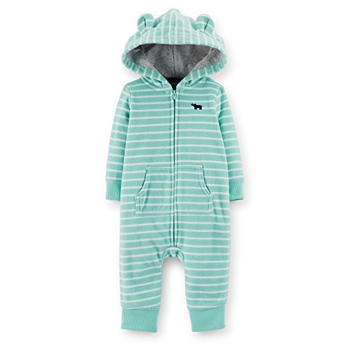 Carter's baby Boys Animal Hooded Microfleece Jumpsuit (turquoise) (18 Months)