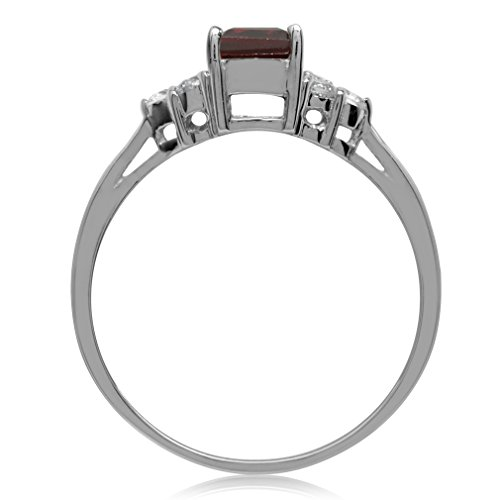 1.28ct. Natural Garnet & White Topaz 925 Sterling Silver Engagement Ring Size 10