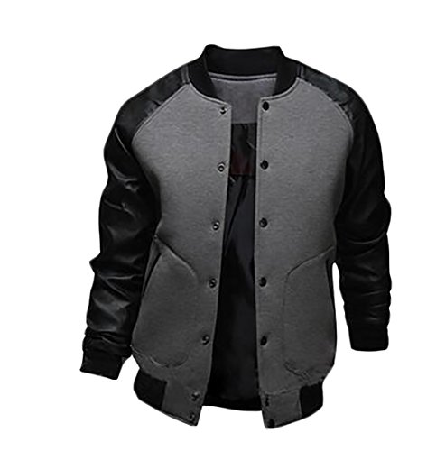 Stand Men's Patchwork Fashion Jackets Front Button Coats Dark GRMO Gray Collar xIRwgRq
