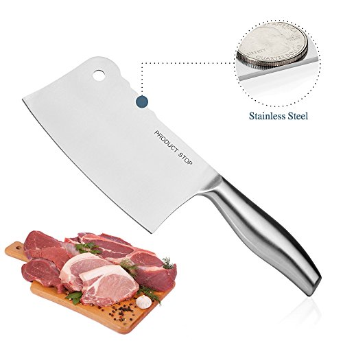 Professional Stainless Steel Butcher Knife. Heavy Duty Japanese Meat Cleaver Slicing Knife.