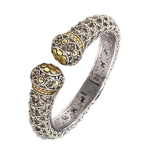 CLASSIC Designer Silver Gold Balinese Dots Filigree Texture Hinged Cuff ()