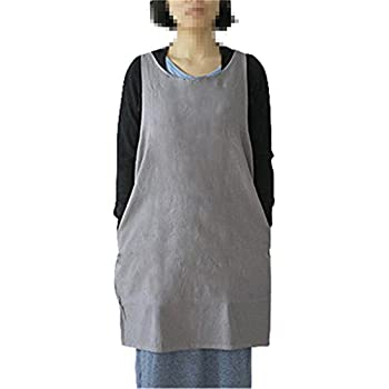 KKTech Japan Style Soft Cotton Linen Apron Solid Color Halter Cross Bandage Aprons Kitchen Cooking Clothes (Light Gray)
